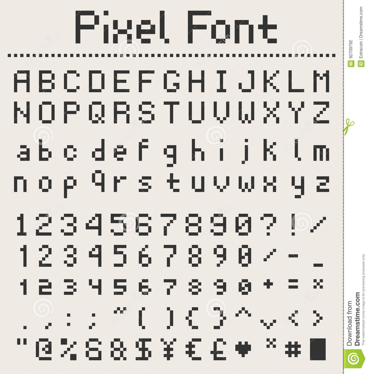 Pixel Font Alphabet Letters And Numbers Retro Videgame