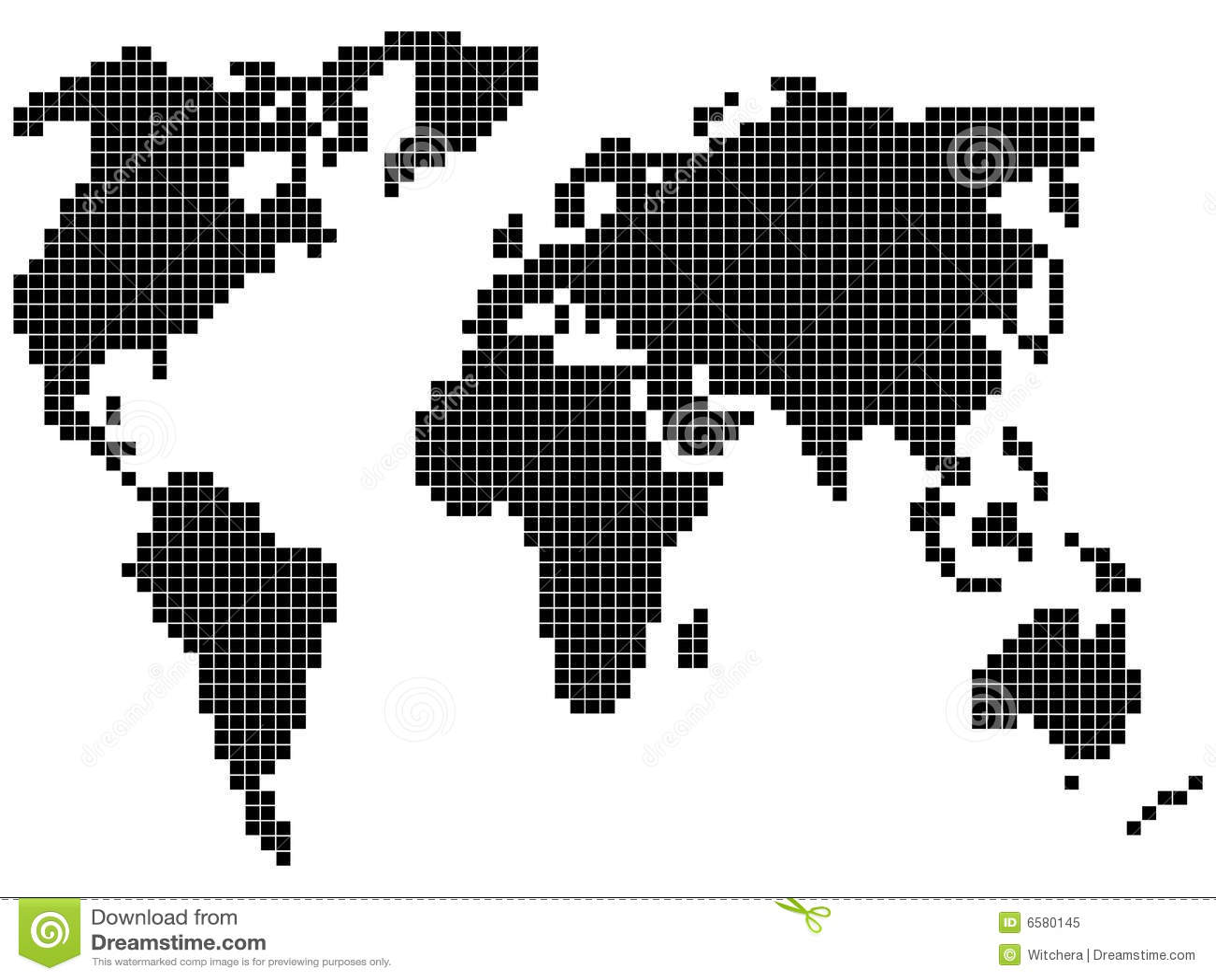 Pixel World Map Royalty Free Stock Photo