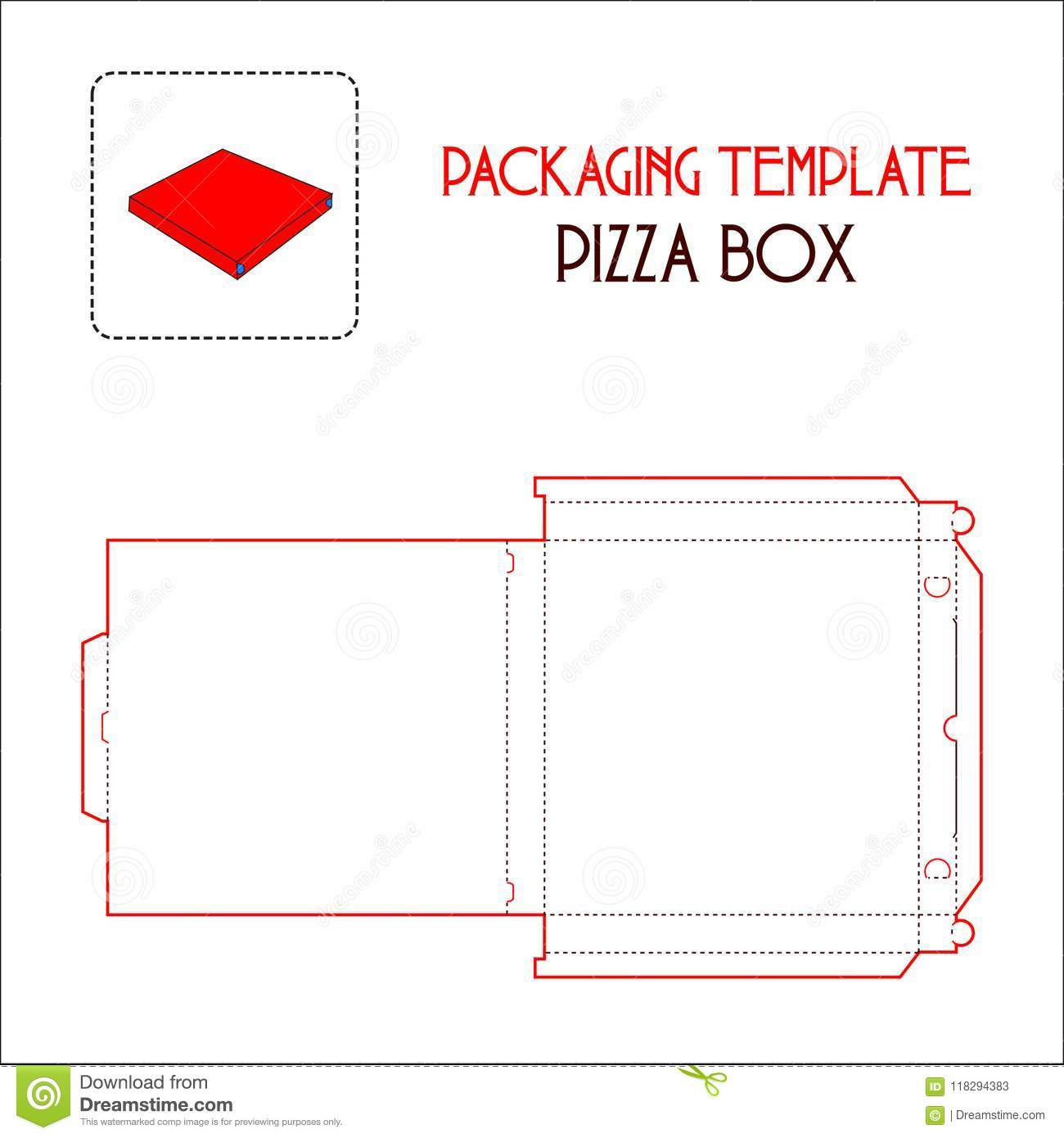 Pizza Box Packaging Template Stock Vector