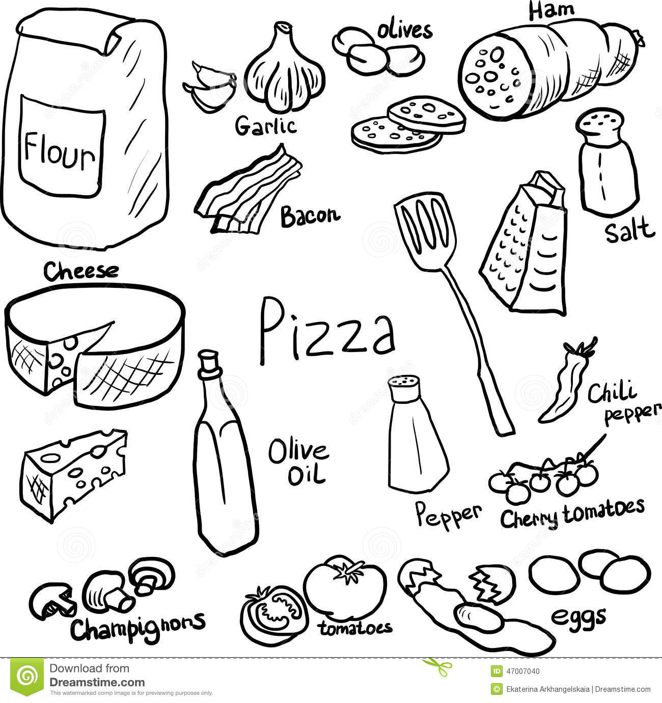Pizza Doodle Set Stock Vector Illustration Of Component