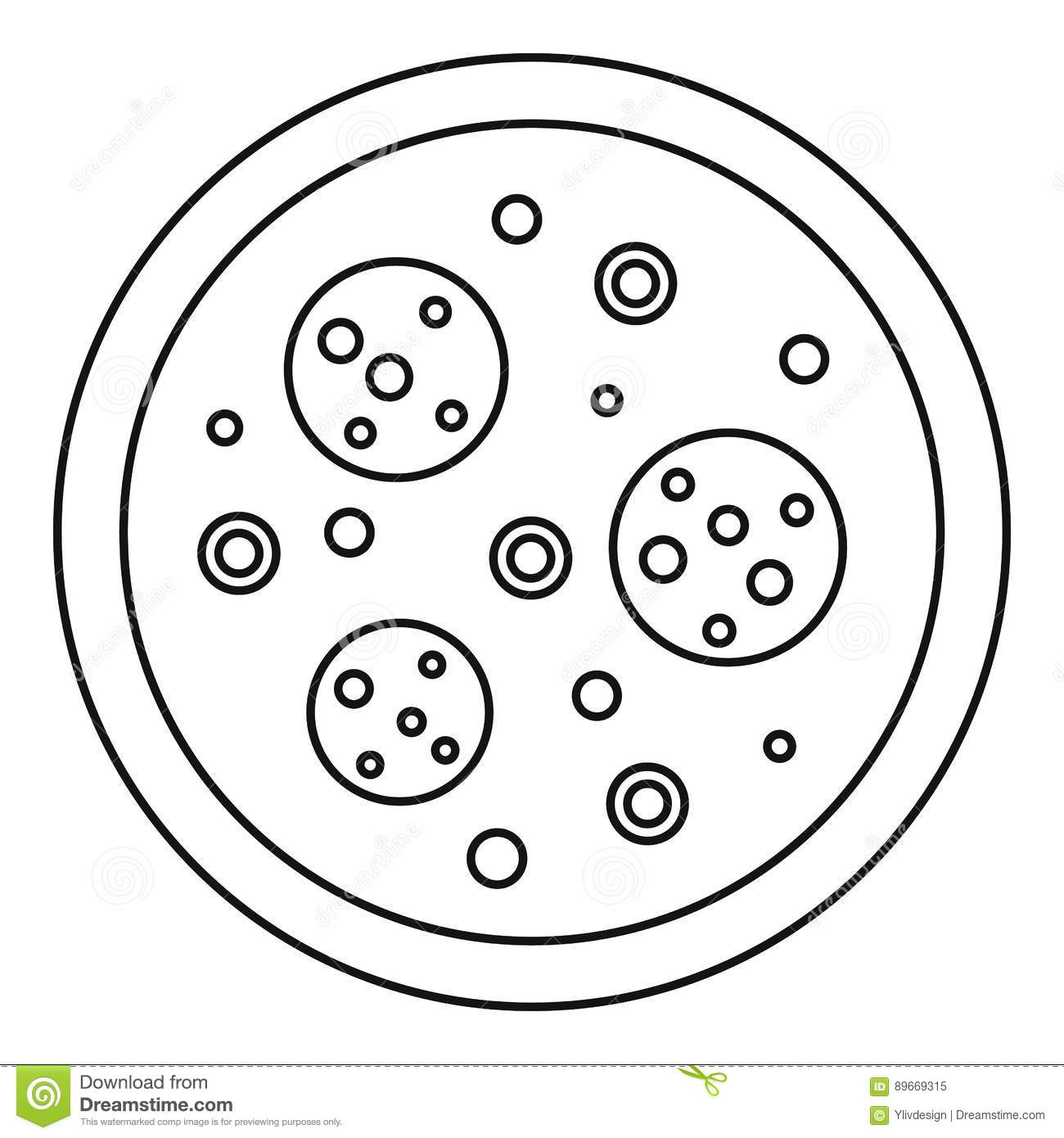 Pizza Icon Outline Style Cartoon Vector