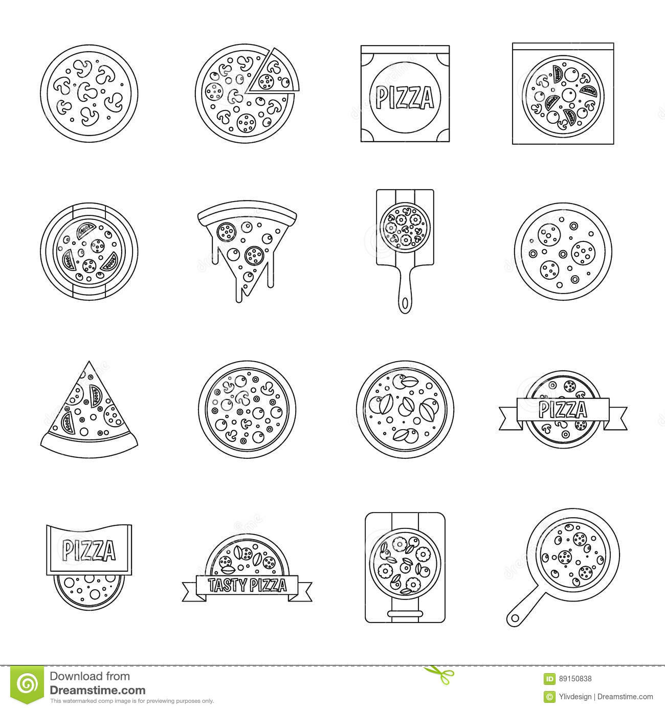 Pizza Fast Food With Salami Pictogram Vector Illustration