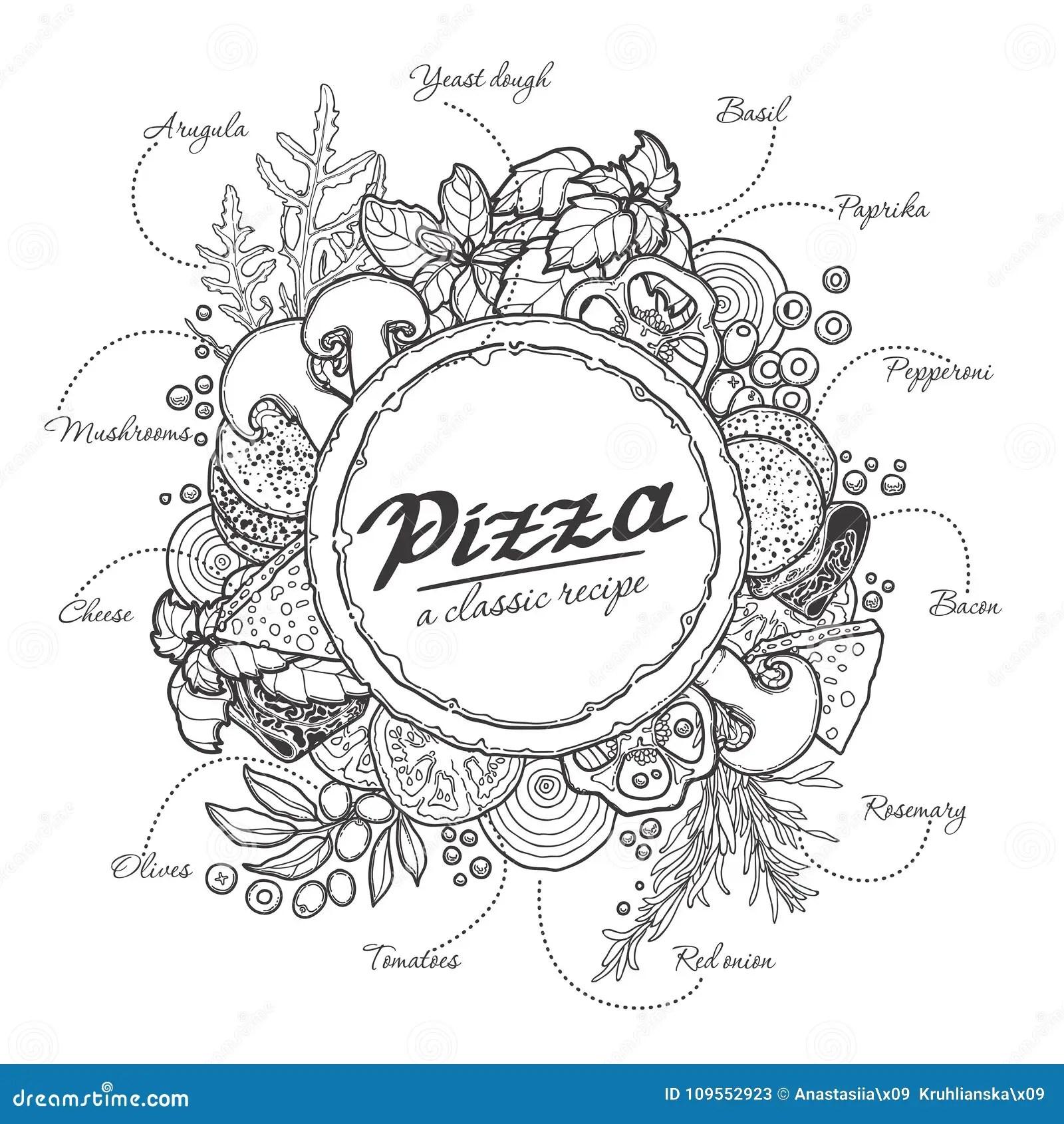 Italian Pizza Recipe Cartoon Vector