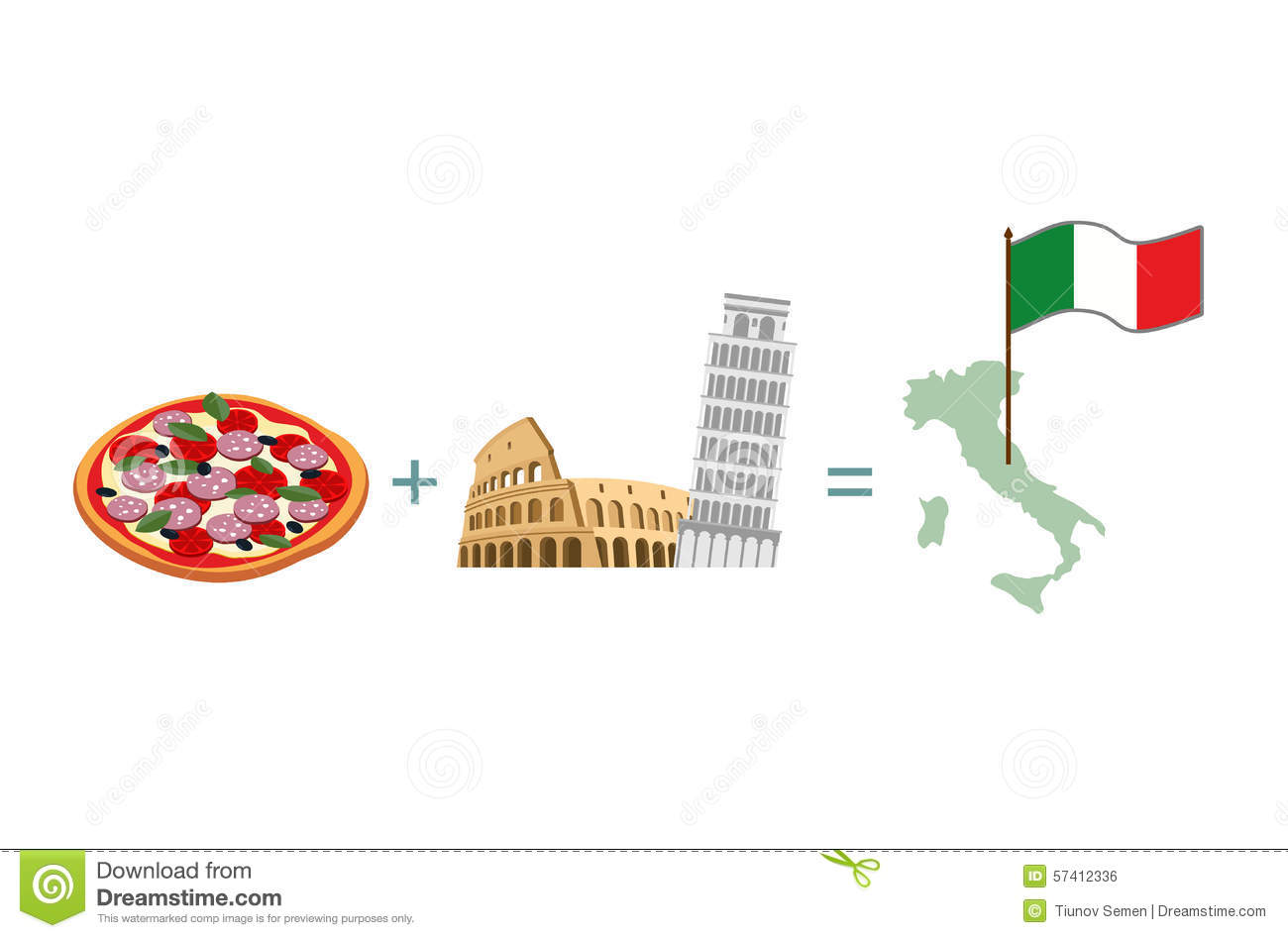 Set Icon Italy Flag And Map Pasta And Pizza Cartoon