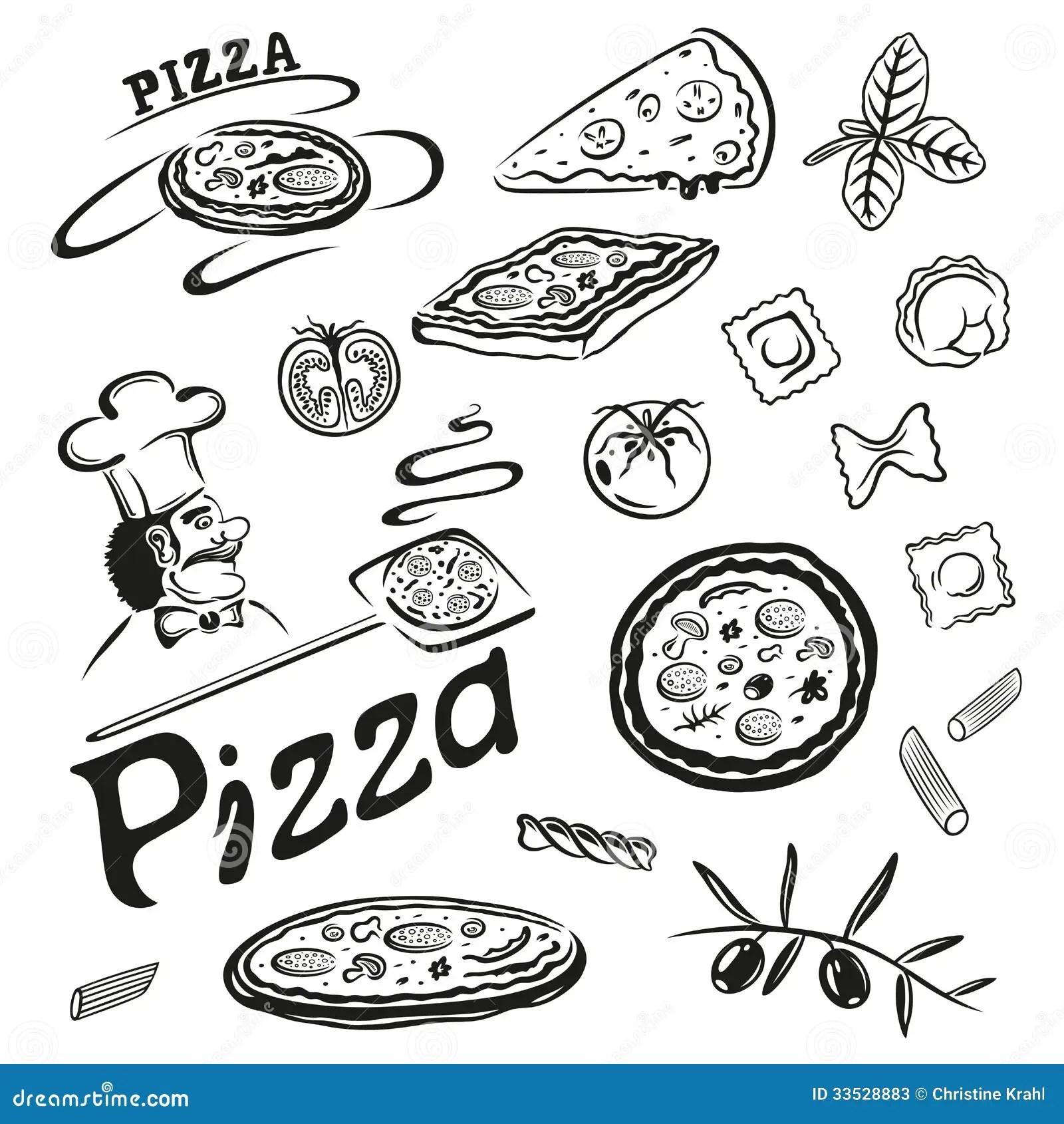 Pizza Makaron Ilustracja Wektor Obraz Z O Onej Z