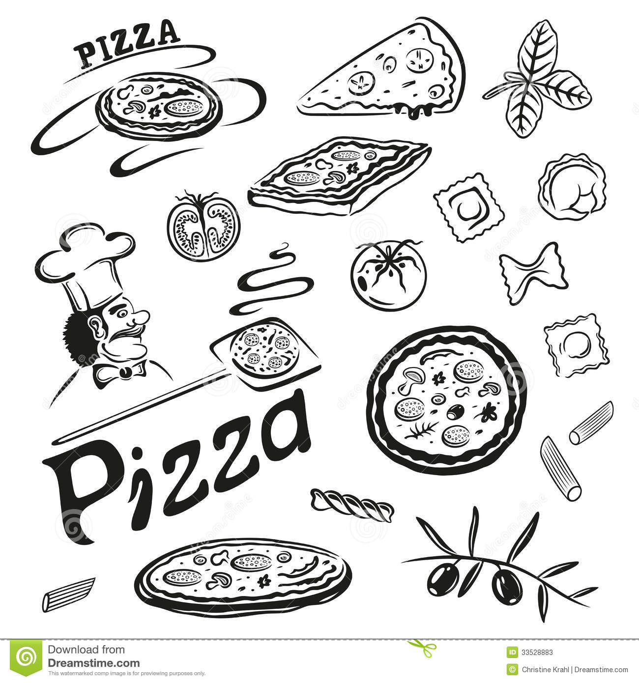 Pizza Pasta Stock Photos