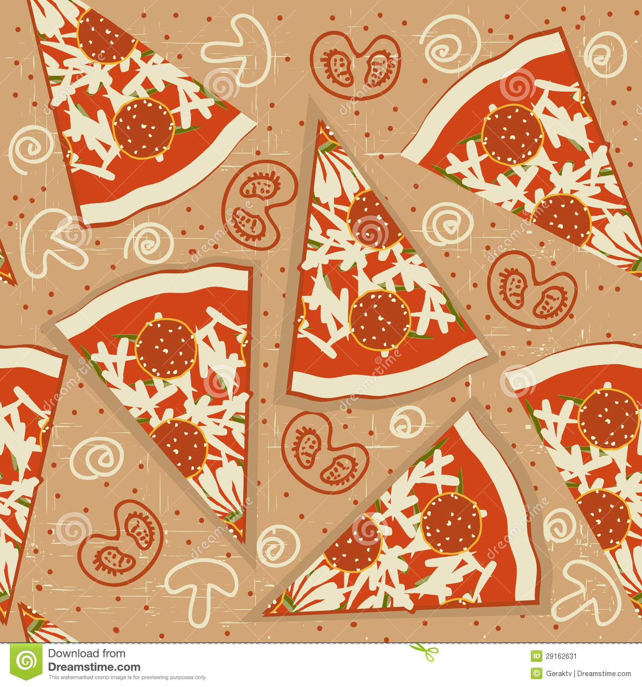 Pizza Seamless PatternVector Food Background Stock Image