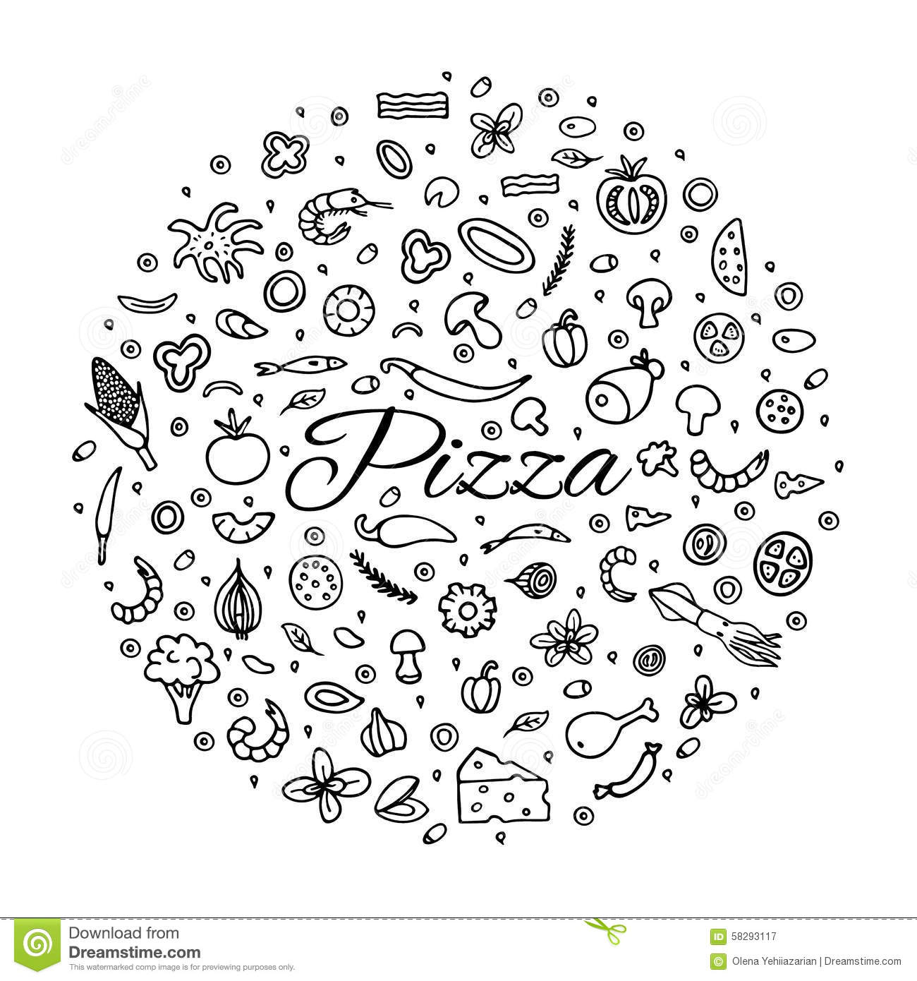 Pizza With A Set Of Ingre Nts Stock Vector