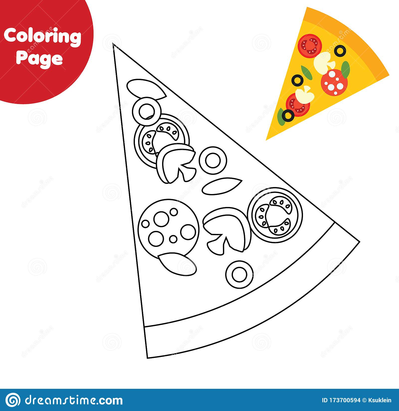 Pizza Slice Coloring Page Color Picture For Toddlers And