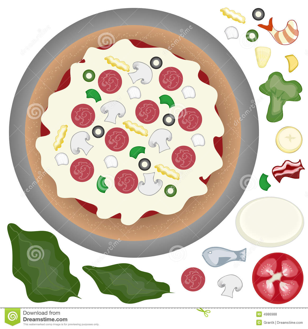 Pizza With Toppings Stock Vector Image Of Spinach