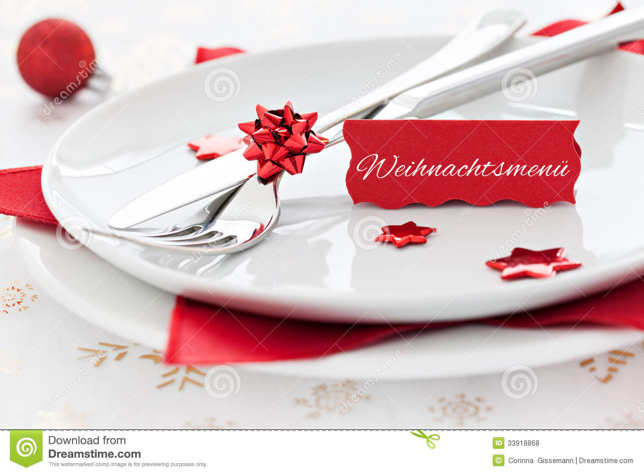 Place Setting With Tag And German Text Stock Photo