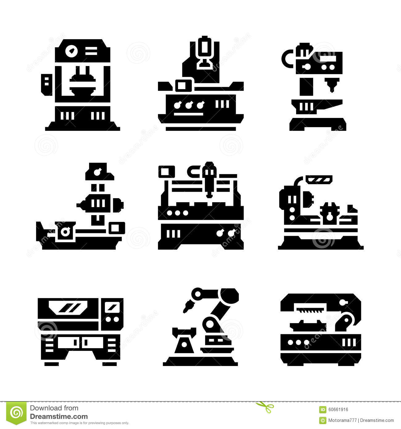 Placez Les Icones De La Machine Outil Illustration De