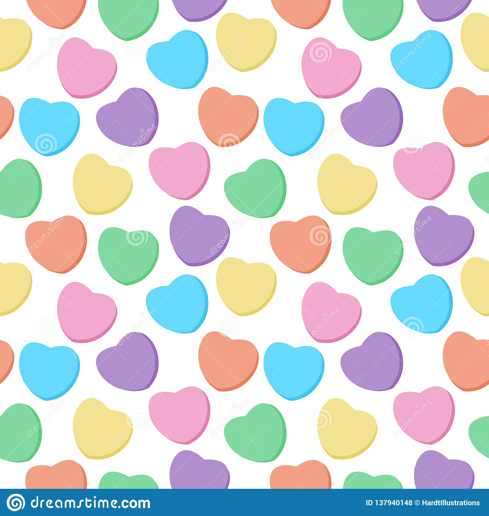 Candy Hearts Seamless Pattern Stock Vector