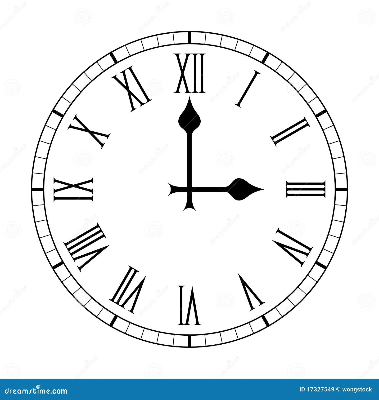 Plain Roman Numeral Clock Face On White Royalty Free Stock