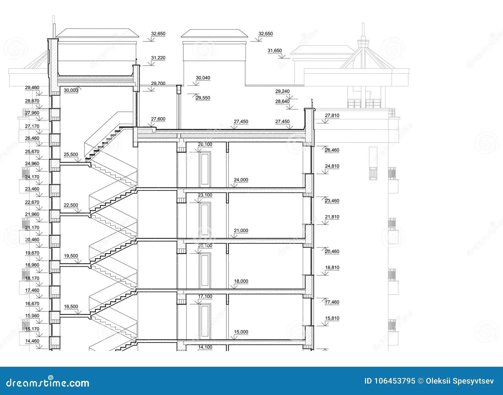Plan Arquitectonico Detallado Del Edificio De Varios Pisos