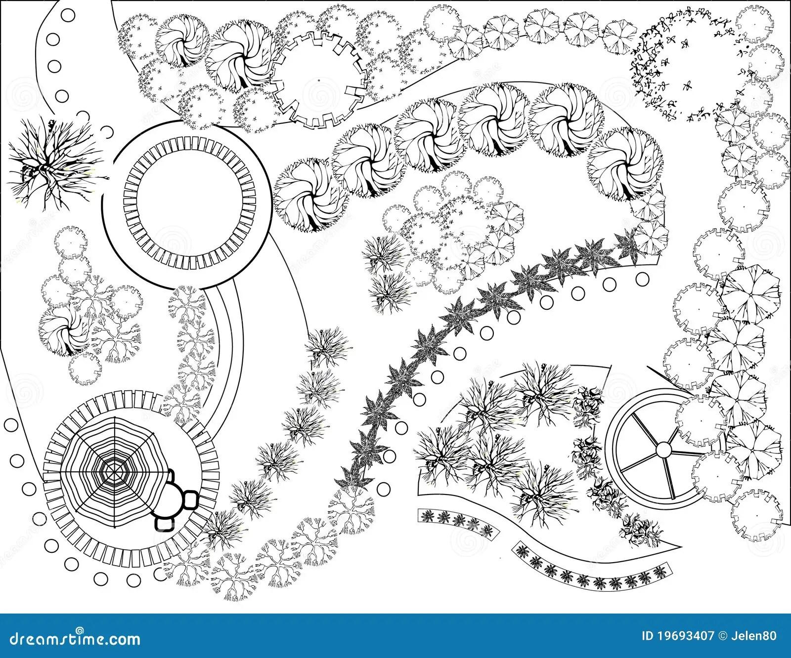 Plan Van Tuin Vector Illustratie Illustratie Bestaande