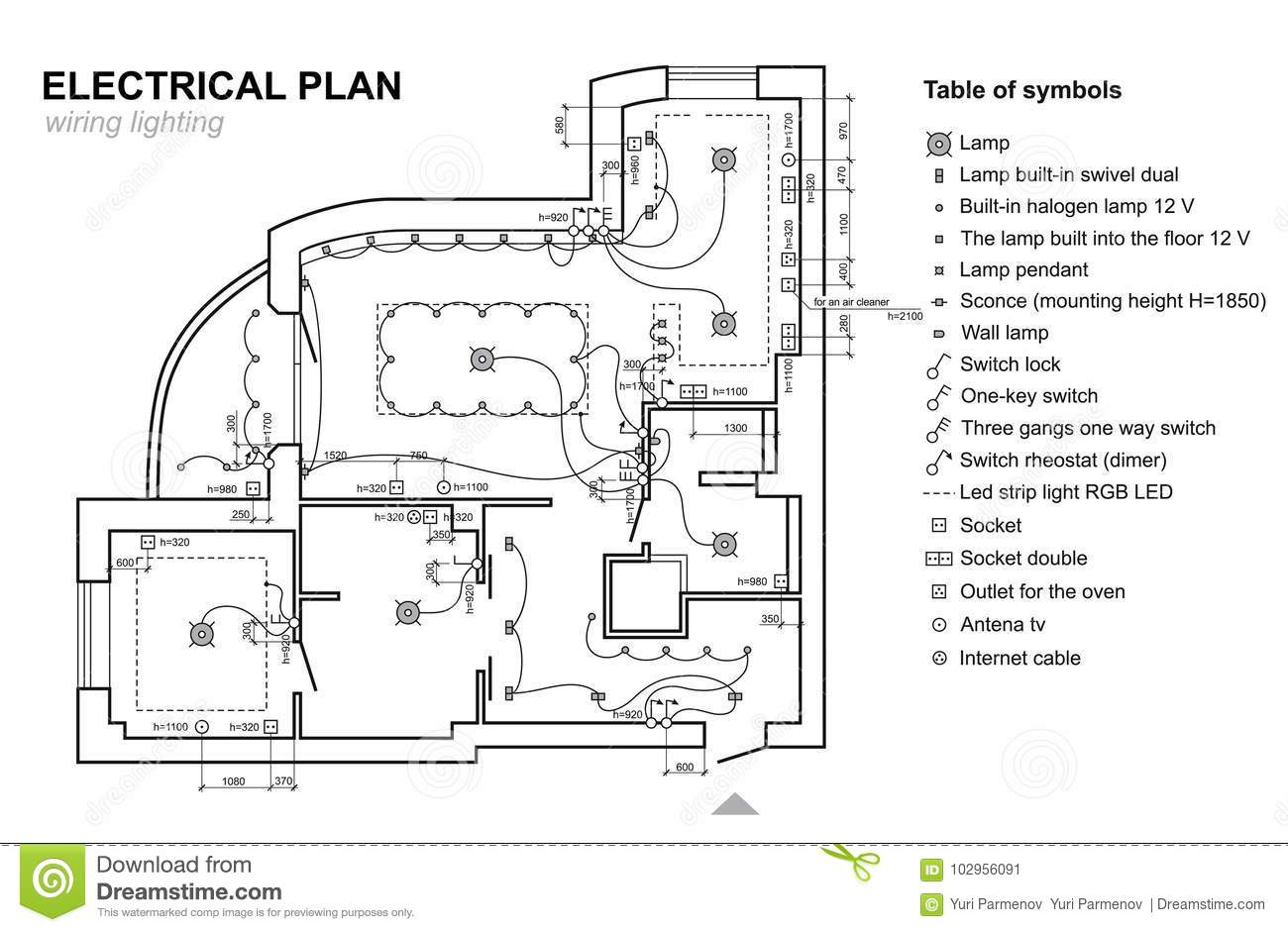 Plan Wiring Lighting Electrical Schematic Interior Set Of Standard Icons Switches Electrical
