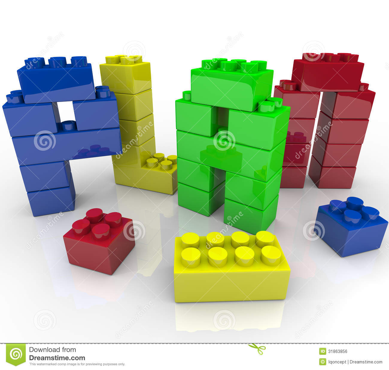 Plan Word Toy Building Blocks Building Strategy Stock