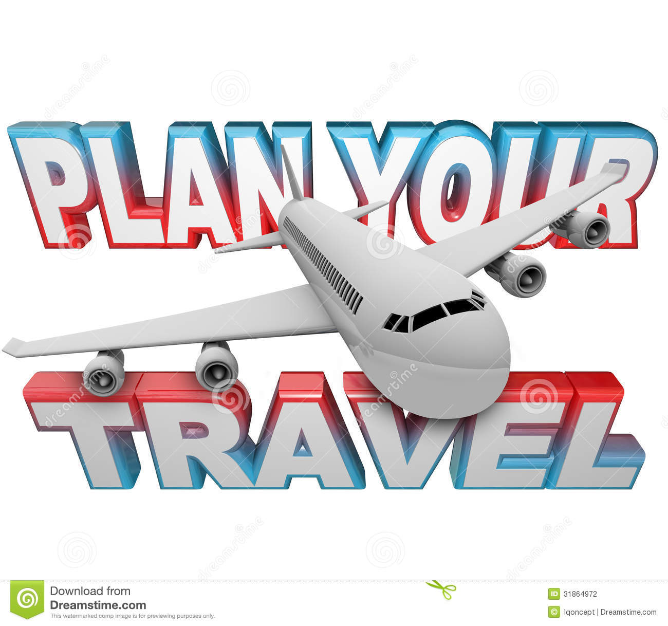 Plan Your Travel Itinerary Words Airplane Background Stock