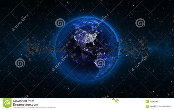 Planet Earth With Asteroid In Universe Or Space Globe And