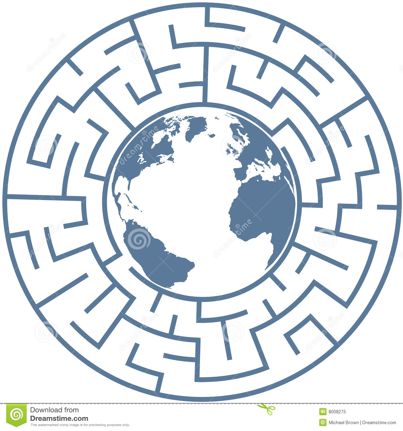 Planet Earth In Radial Maze World Puzzle Stock Vector