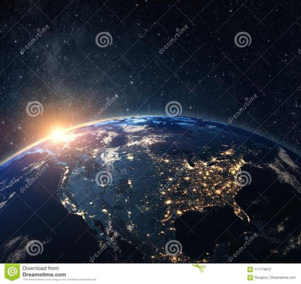 Planet Earth From The Space At Night Stock Photo - Image ...