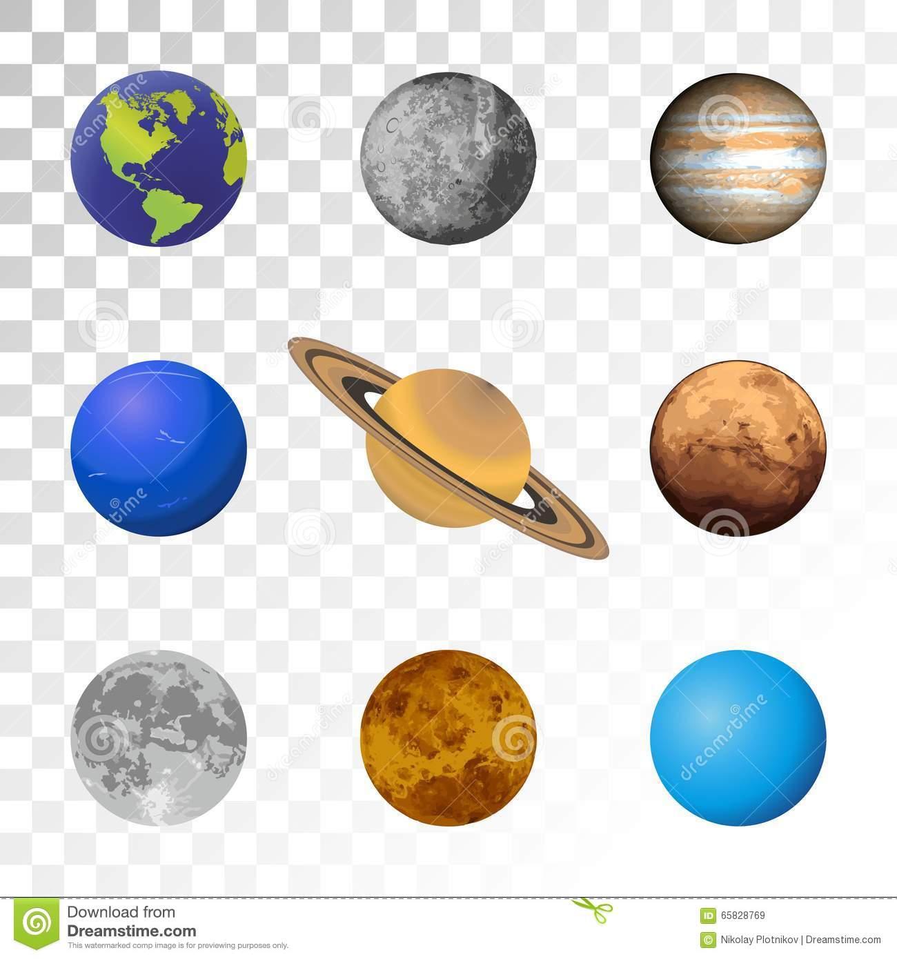 Planets Colorful Set On Transparent Background Stock