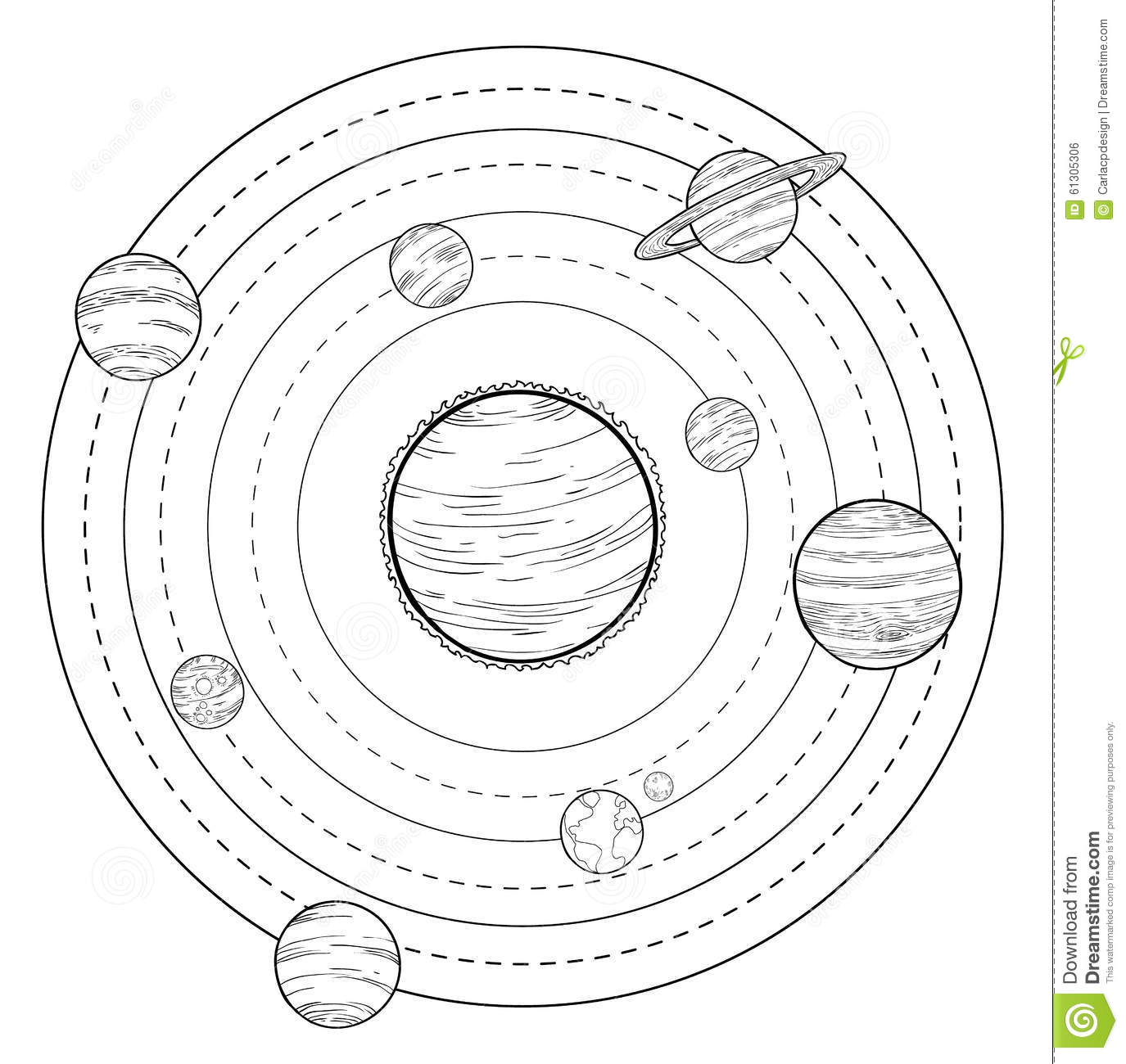 Planets Doodle Hand Drawn Illustration Stock Vector
