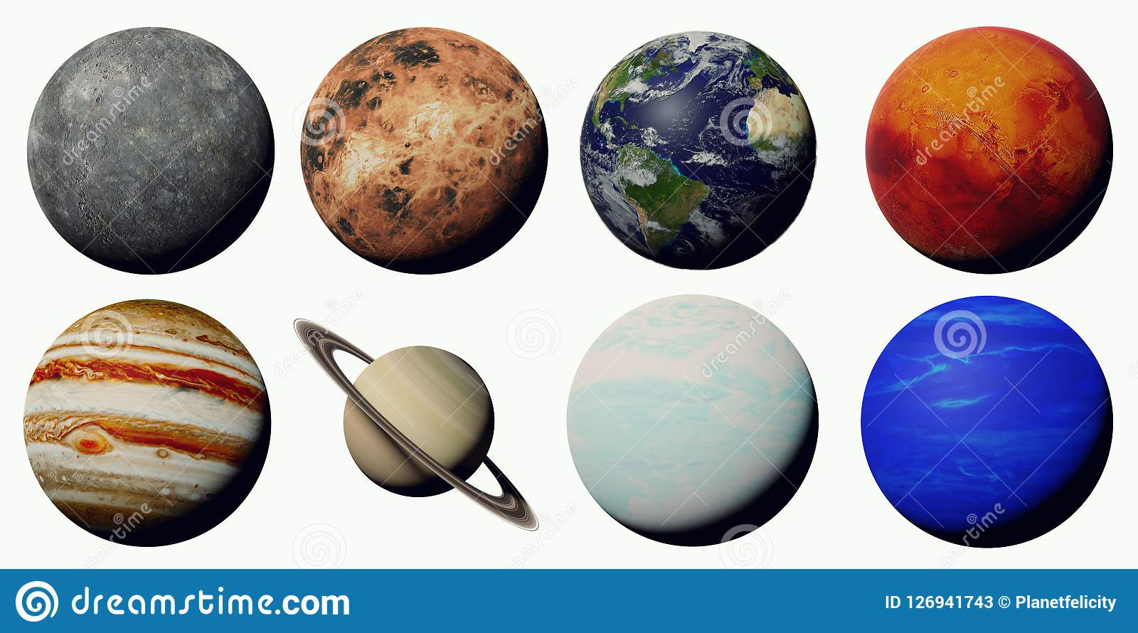 The Planets Of The Solar System Isolated On White