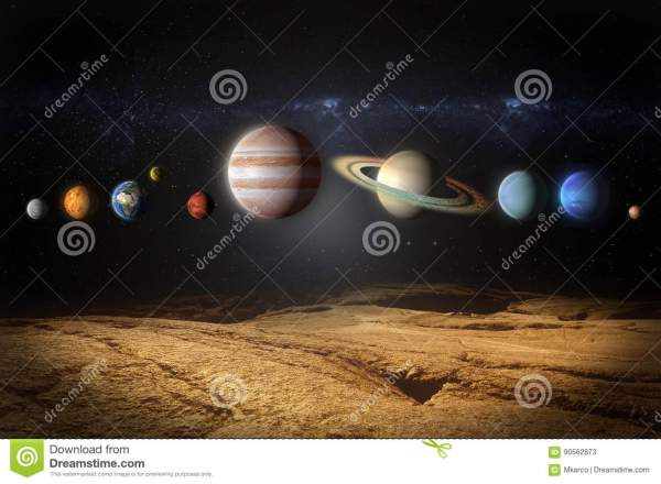 Planets Of The Solar System View From Rocky Planet Stock ...