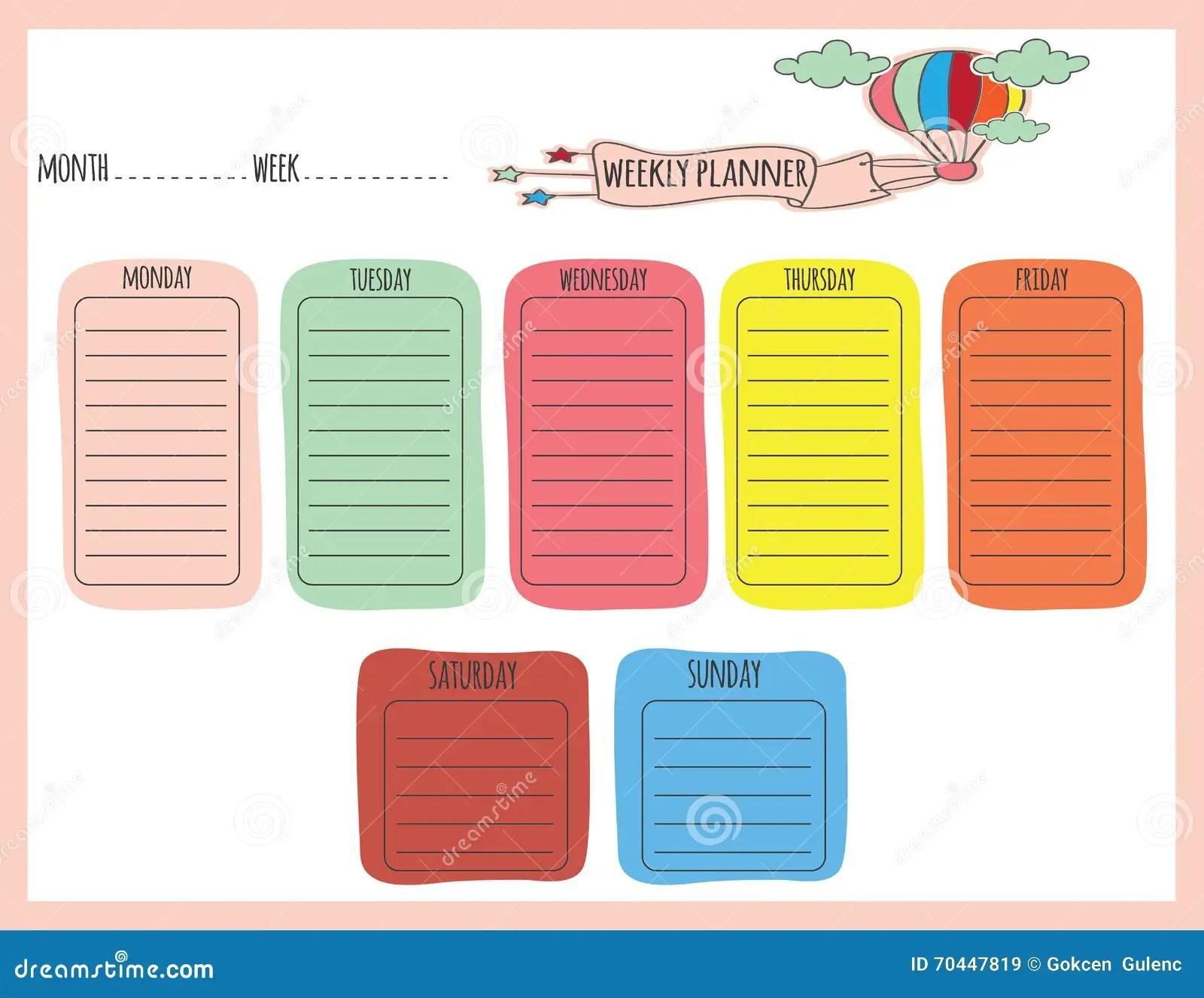 Planificateur Hebdomadaire Mignon Illustration De Vecteur