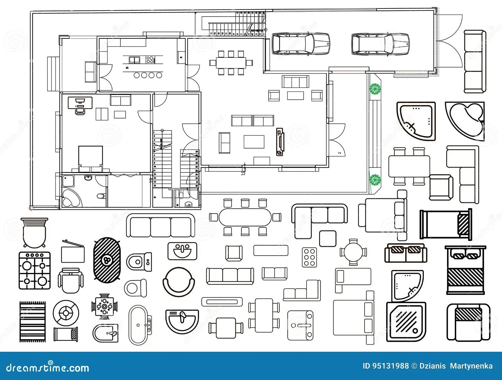 Plano Da Arquitetura Com Mobilia Na Vista Superior