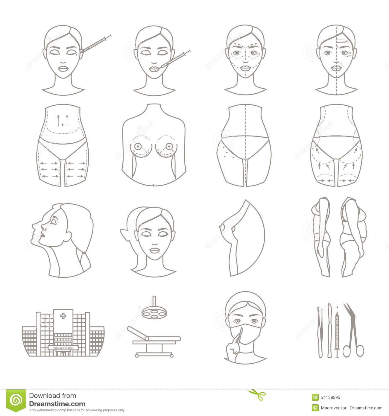 Plastic Surgery Sketch Icons Set Stock Vector