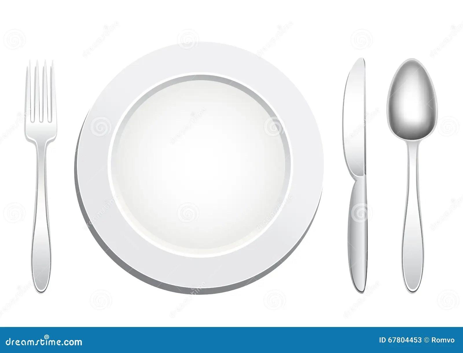 Plate Spoon Fork Knife Stock Vector Illustration Of Knife