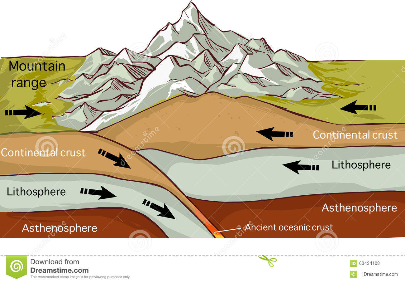 Plate Tectonics Mountain Forming Drawing Stock Vector