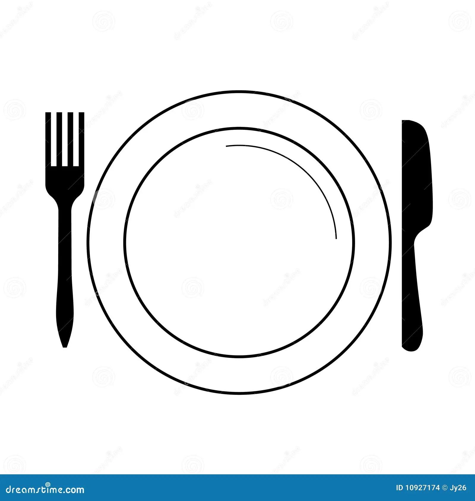 Platte Mit Gabel Messer Vektor Vektor Abbildung