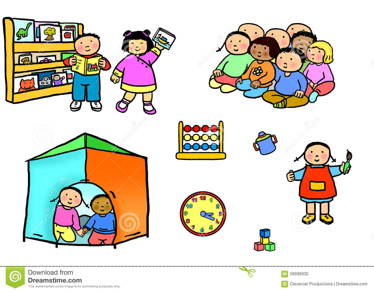 Playgroup Preschool Nursery Daycare Activities Stock Illustration