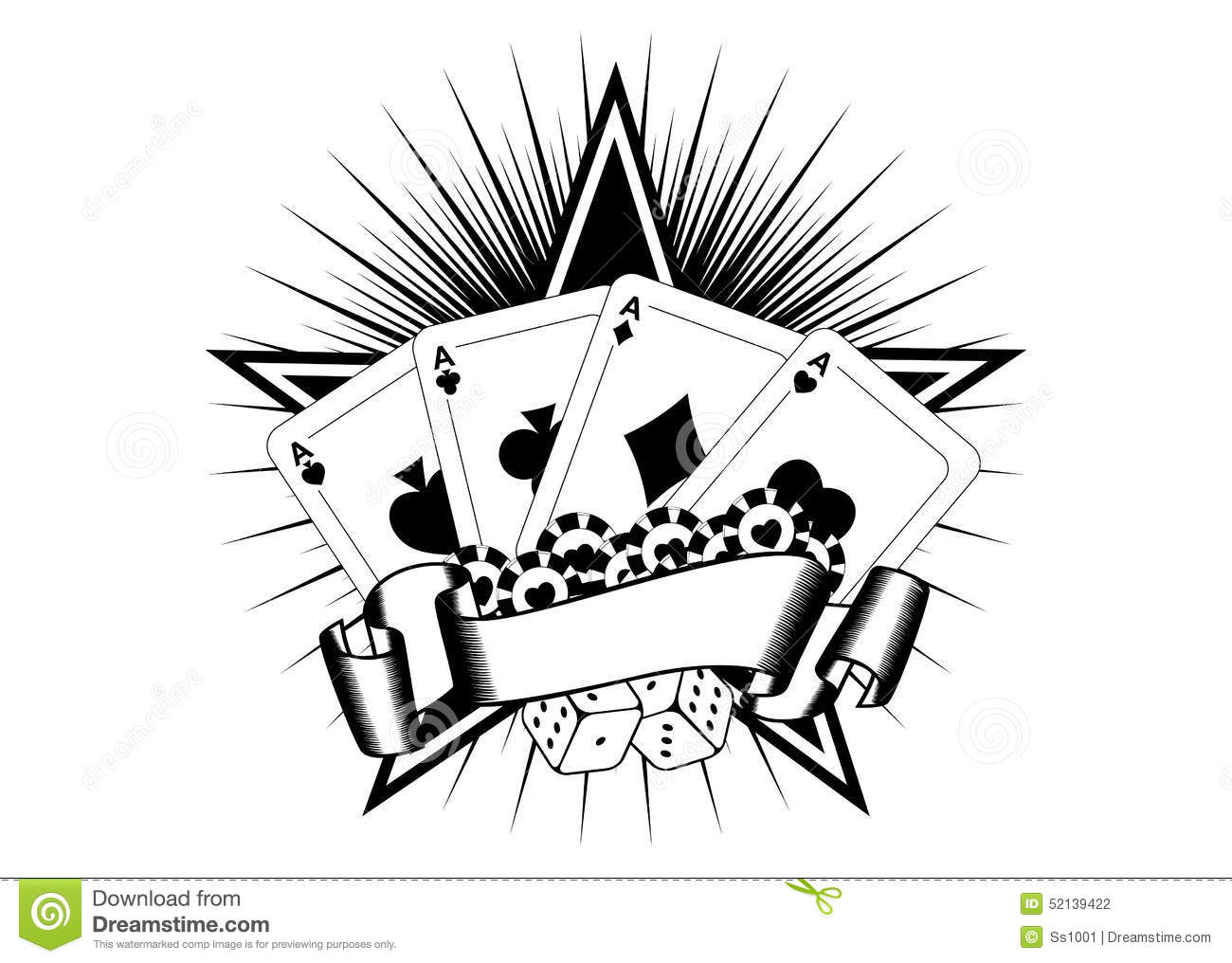 Playing Cards Dice Chips Stock Vector Illustration Of