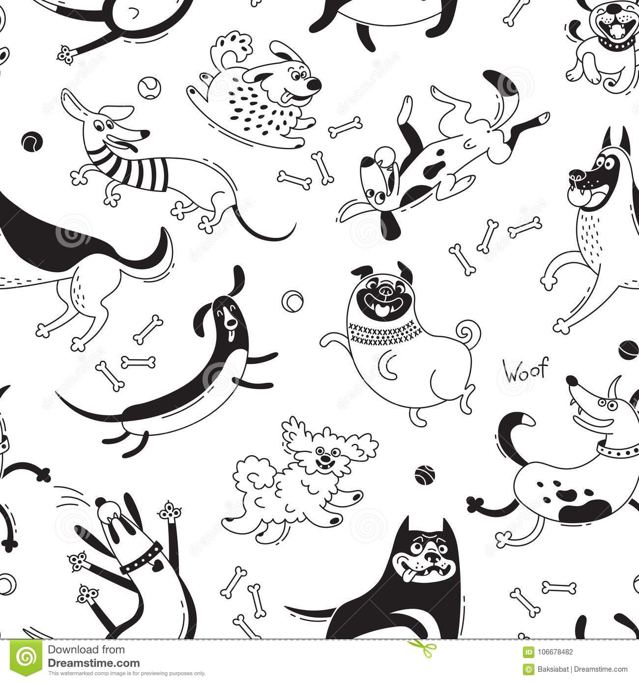 Playing Dogs Seamless Pattern Funny Lap Dog Happy Pug