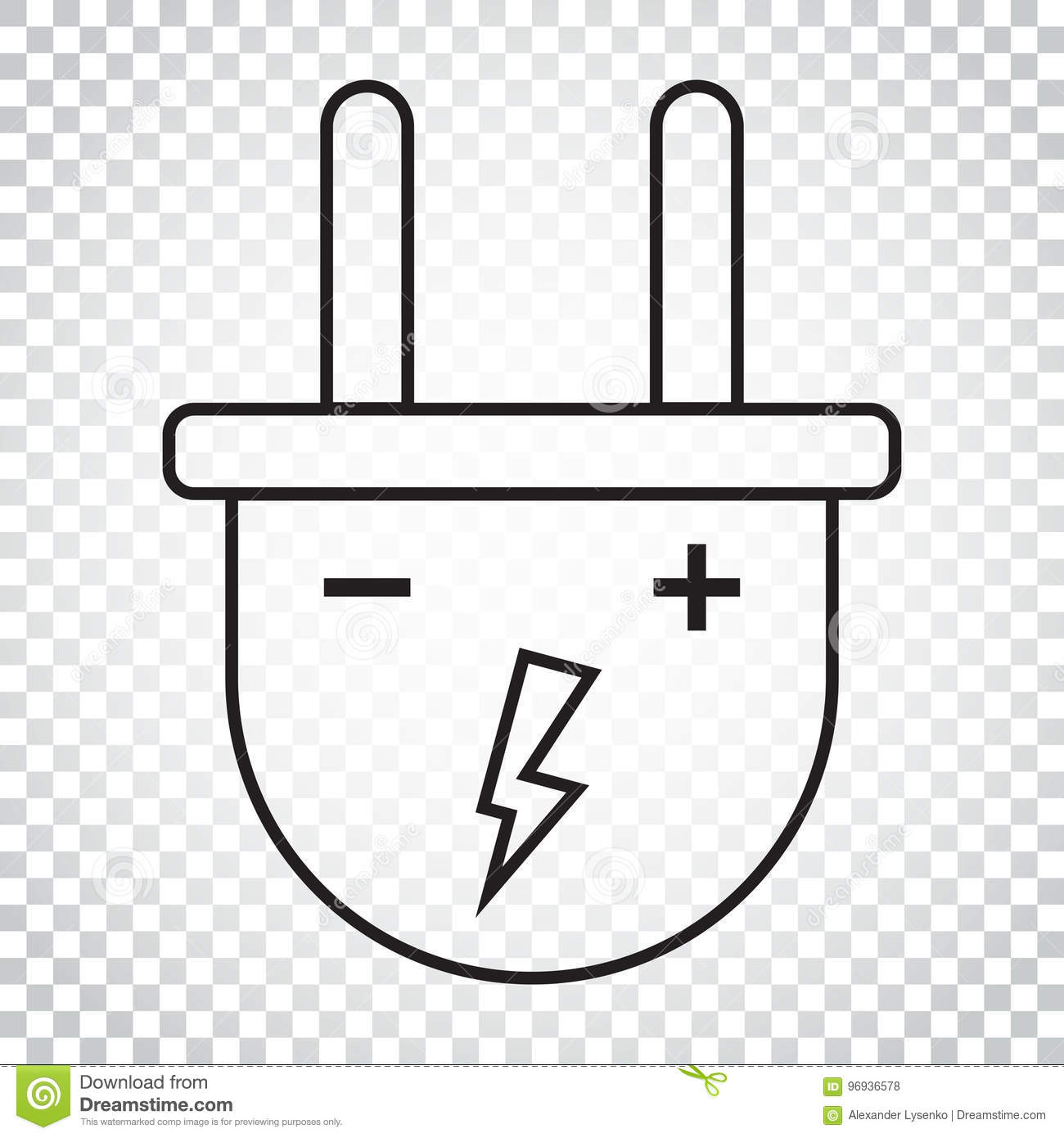 Plug Vector Icon In Line Style Power Wire Cable Flat