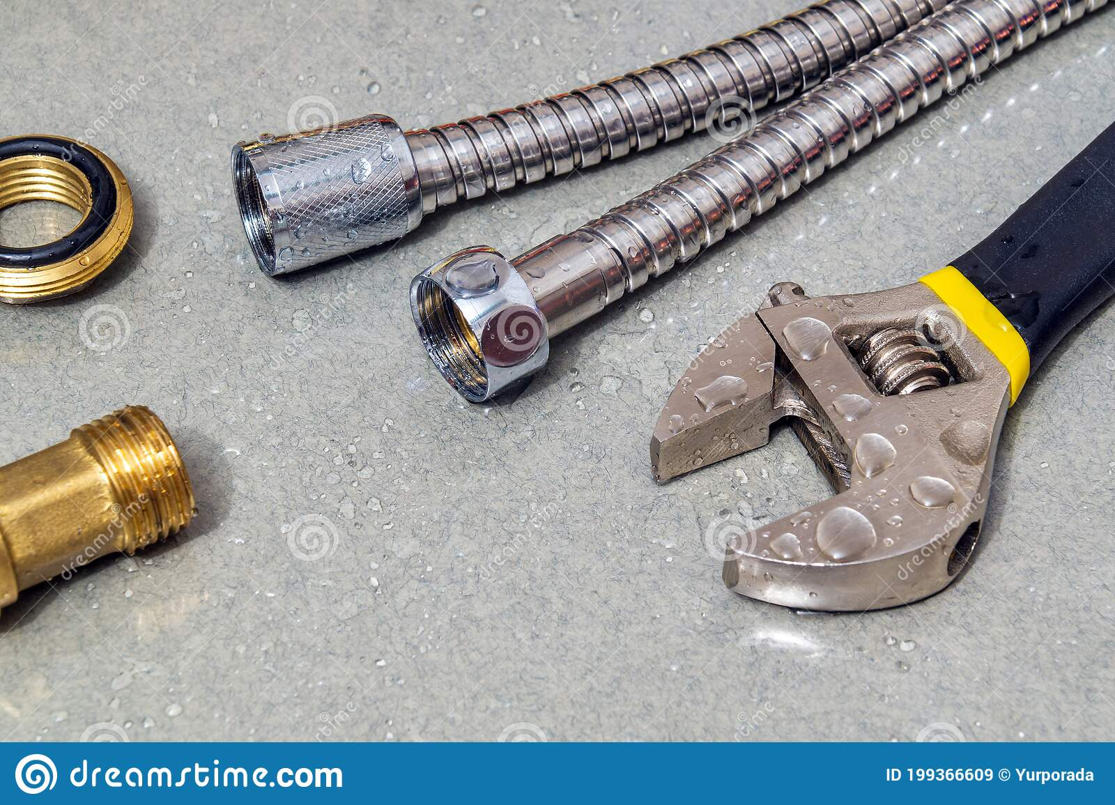 plumbing faucet and a wrench in water drops during equipment repair during an accident stock image image of plumber control 199366609