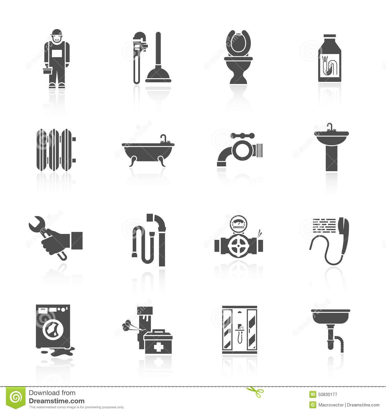 Plumbing Icons Set Stock Vector Illustration Of Network