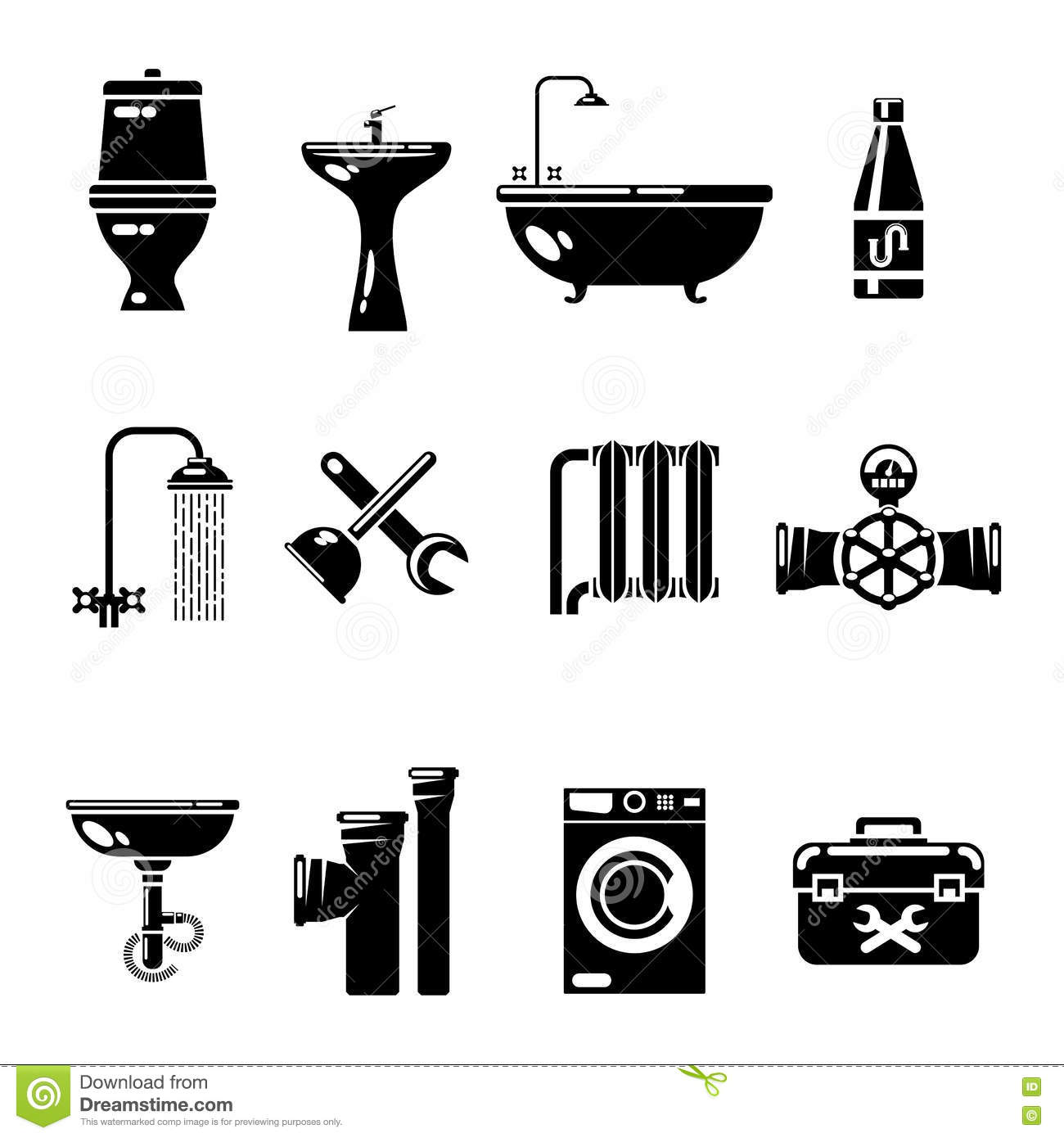 Plumbing Icons Water Pipe And Shower Toilet Sink Vector