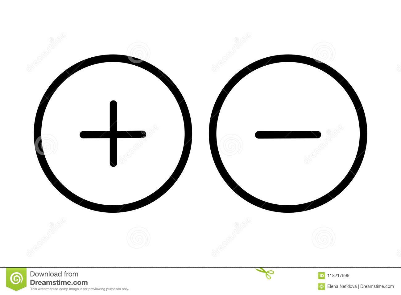 Plus And Minus Button Icon Stock Vector Illustration Of