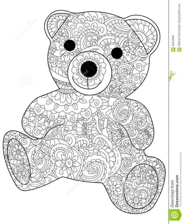 Plush Toy Bear Coloring Vector for Adults Stock Vector