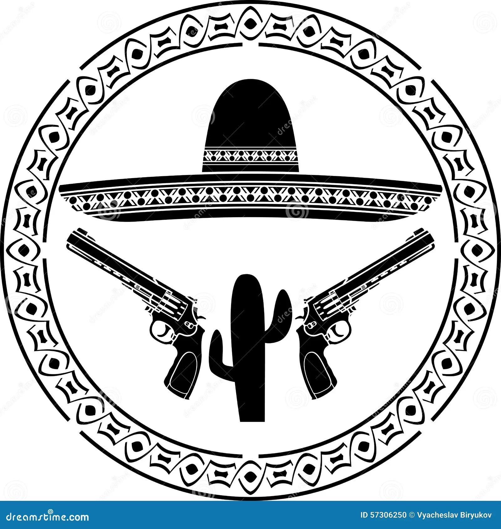 Pochoir De Sombrero Mexicain Et De Deux Pistolets