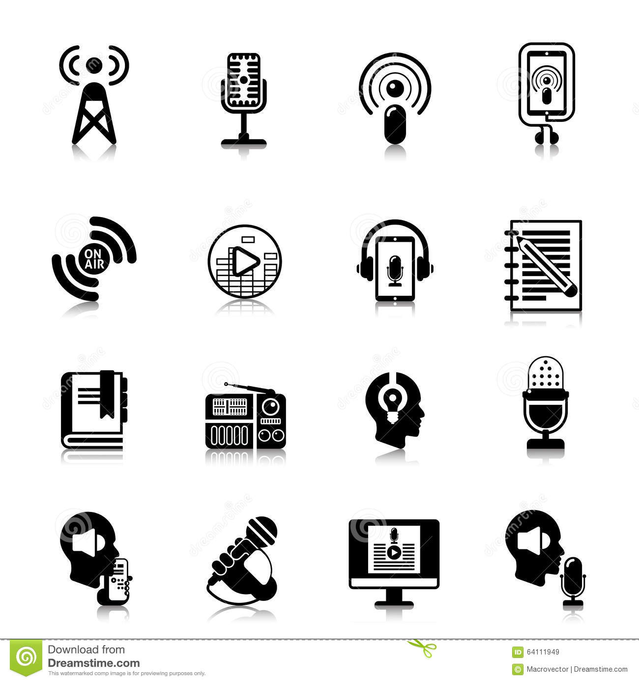 Podcast Black Icons Channel Concept Stock Vector