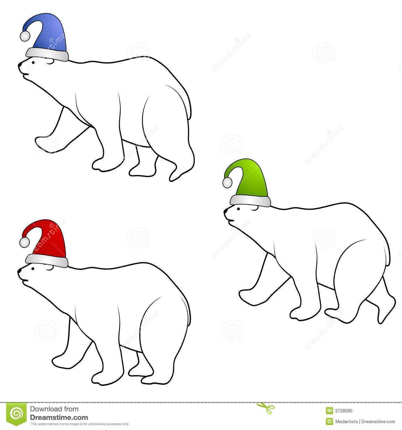 Polar Bears Wearing Santa Hats Royalty Free Stock Photo