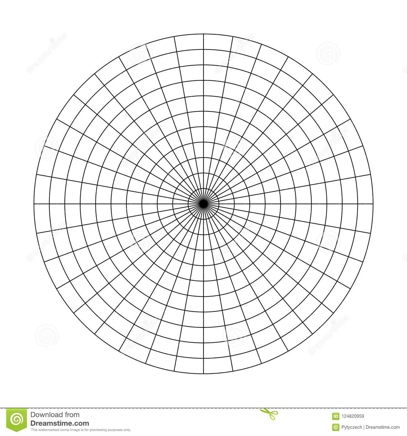 Polar Grid Of 10 Concentric Circles And 10 Degrees Steps