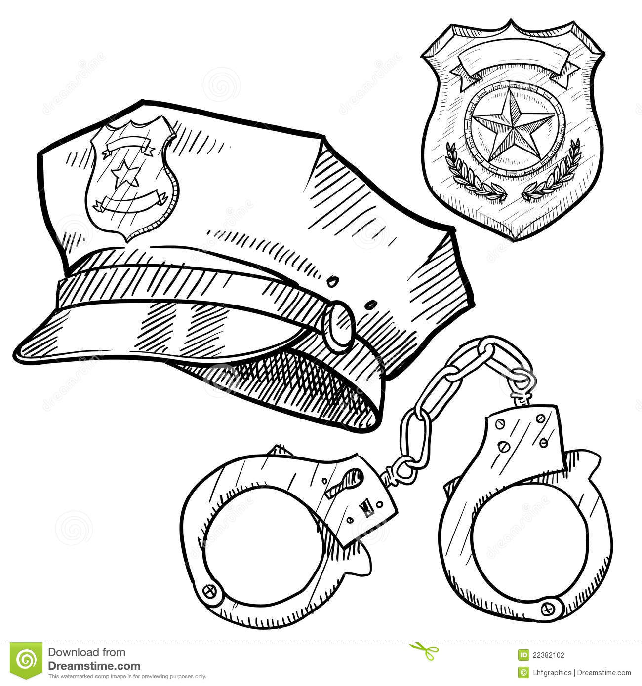 Police Objects Sketch Stock Photography